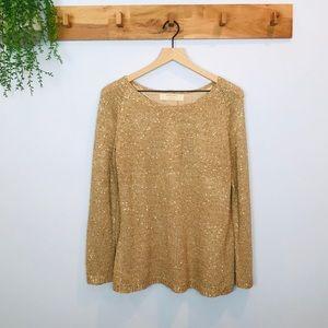 [Zara] Knit Metallic Gold/little sequins Sweater